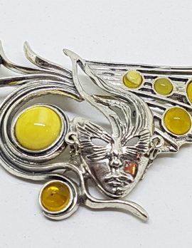 Sterling Silver Natural Butter Amber Large Mask Brooch