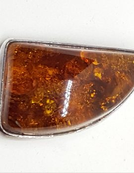Sterling Silver Natural Amber Chunky Brooch