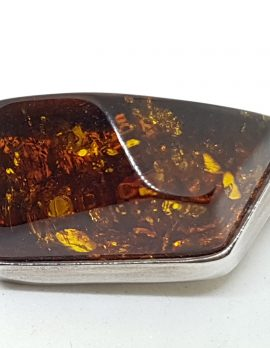 Sterling Silver Natural Amber Chunky Shape Brooch