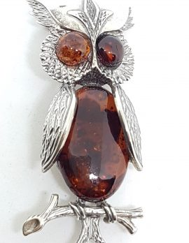 Sterling Silver Natural Amber Large Owl Brooch