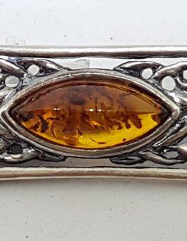 Sterling Silver Natural Amber Ornate Celtic Bar Brooch