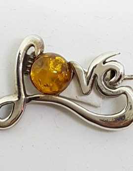 Sterling Silver Natural Amber Love Brooch