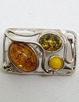 Sterling Silver Natural Amber Butter, Green and Brown Rectangular Brooch