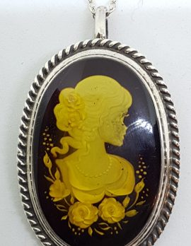 Sterling Silver Natural Amber Oval Carved Cameo Brooch / Pendant on Sterling Silver Chain