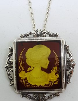 Sterling Silver Natural Amber Carved Lady with Roses Cameo Ornate Brooch / Pendant on Sterling Silver Chain