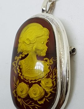 Sterling Silver Natural Amber Carved Lady with Hat & Rose Oval Cameo Brooch / Pendant on Sterling Silver Chain