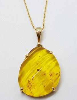 9ct Yellow Gold Large Carved Natural Amber Pendant on 9ct Chain