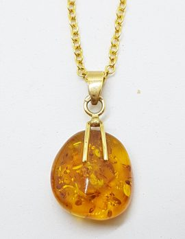 9ct Yellow Gold Natural Amber Pendant on 9ct Chain
