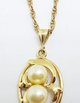 9ct Yellow Gold Cultured Pearl Ornate Leaf Design Pendant on Gold Chain