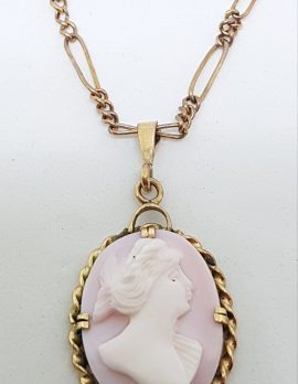 9ct Rose Gold Oval Lady Head Ornate Pink Cameo Pendant on Gold Chain