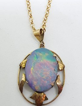9ct Yellow Gold Oval Opal Ornate Floral Pendant on Gold Chain