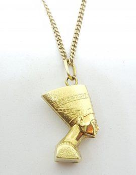 18ct Yellow Gold Egyptian Nefertiti Pendant on Gold Chain