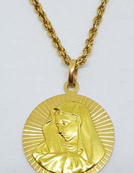 18ct Yellow Gold Large Mother Mary Religious Medallion Pendant on Long Gold Chain