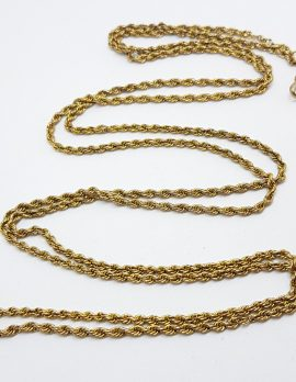 9ct Yellow Gold Very Long Muff Chain / Necklace with Fob Clasp