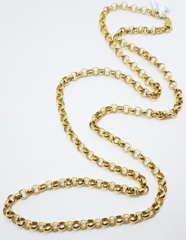 9ct Yellow Gold Belcher Link Long Chain / Necklace
