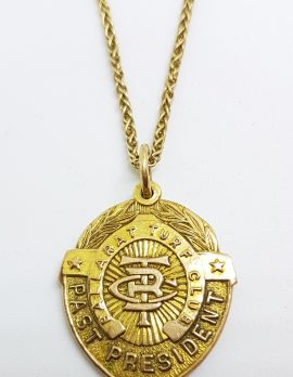 9ct Yellow Gold Shield Shape Ballarat Turf Club Medallion Pendant on Gold Chain