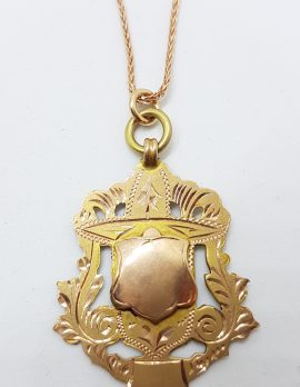 9ct Rose Gold Ornate Large Medallion Pendant on Gold Chain