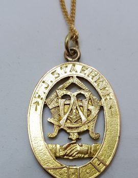 9ct Yellow Gold Ornate Oval Medallion Pendant on Gold Chain