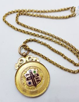 9ct Yellow Gold Ornate Enamel Crest Medallion Pendant on Gold Chain