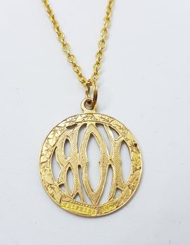 "15ct Yellow Gold Ornate Round ""I O R"" Medallion Pendant on 9ct Gold Chain"