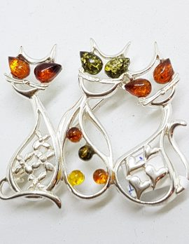 Sterling Silver Multi-Coloured Amber Three Cats Sitting Brooch
