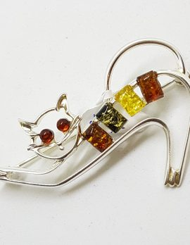 Sterling Silver Multi-Coloured Amber Cat Stretching Brooch