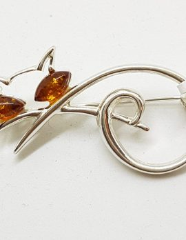 Sterling Silver and Amber Cat Brooch - Brown and Green - Also Available as Pendant