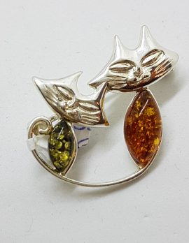 Sterling Silver Multi-Coloured Amber Two Cats Brooch