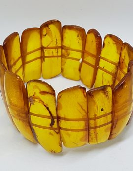 Natural Amber Bead Very Wide Bracelet