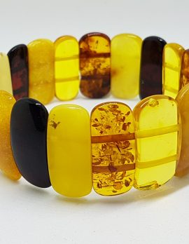Natural Multi-Coloured Amber Bead Wide Bracelet