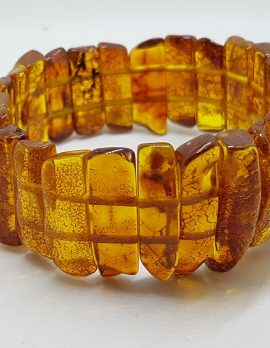 Natural Amber Wide Bead Bracelet