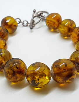Natural Amber Heavy Round Bead Bracelet with Sterling Silver Clasp