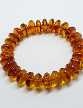 Natural Amber Thick Button Bead Bracelet
