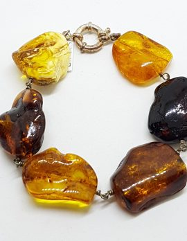 Natural Multi-Coloured Amber Chunky Bracelet with Sterling Silver Clasp