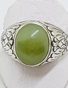 Sterling Silver Large Oval Ornate Design Jade Ring