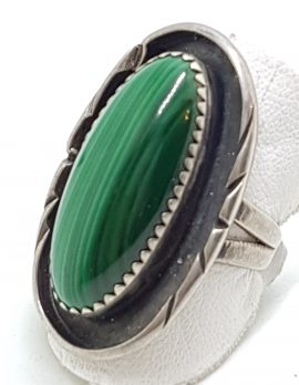 Sterling Silver Large Oval Malachite Ornate Ring