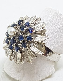 Sterling Silver Pearl and Sapphire Cluster Ring