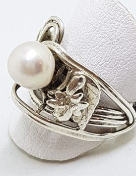 Sterling Silver Pearl Ornate Large Bulky Ring