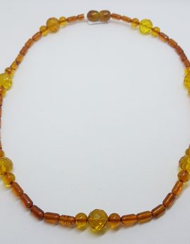 Natural Faceted Baltic Amber Bead Necklace / Chain