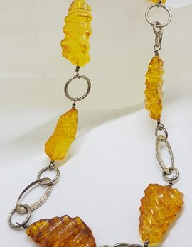 Sterling Silver & Baltic Amber Carved Bead Necklace / Chain