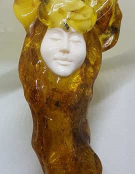 Natural Baltic Amber Carved Face Large Necklace / Chain