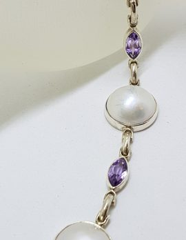 Sterling Silver Mabe Pearl with Marquis Amethyst Bracelet