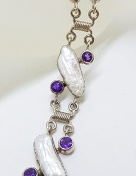 Sterling Silver Blister Pearl with Amethyst Bracelet