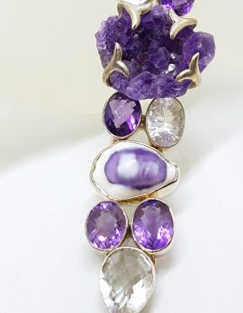 Sterling Silver Wide Chunky Amethyst, Clear Quartz and Shell Cluster Bracelet