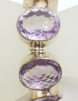 Sterling Silver Large Oval Faceted Amethyst Bracelet - Heavy & Wide