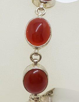 Sterling Silver Oval Cabochon Carnelian Bracelet