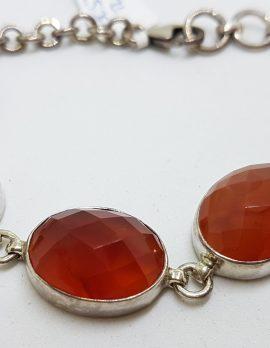 Sterling Silver Oval Faceted Carnelian Bracelet