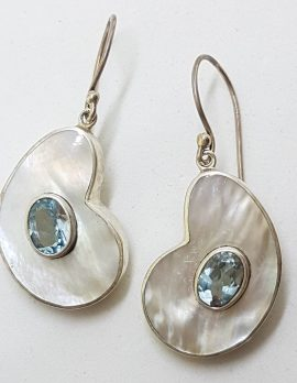 Sterling Silver Blue Topaz and Mother of Pearl Large Drop Earrings