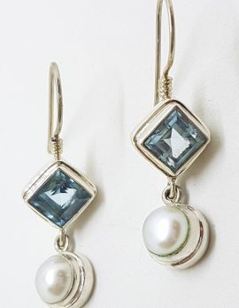 Sterling Silver Blue Topaz and Pearl Drop Earrings
