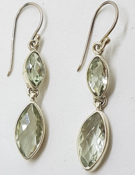 Sterling Silver Green Amethyst/Prasiolite Long Drop Earrings